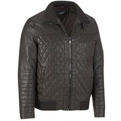 Black Rivet Faux-Leather Quilted Bomber Jacket