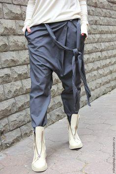 Купить Брюки Grey Casual - серый, брюки серые, брюки из хлопка, брюки женские