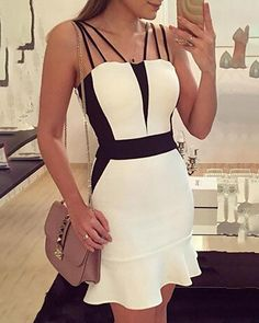 Romoti Black And White Spaghetti Straps Bodycon Dress Club Dresses, Sexy Dresses, Dress Outfits, Short Dresses, Fashion Dresses, Elegant Dresses, Party Dresses, Summer Dresses, Formal Dresses