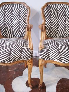 For sale: We just redid this vintage caned Bergere pair. We sanded the dated finish off to reveal the natural wood and we reupholstered them in Alan Campbell's Zig Zag linen.