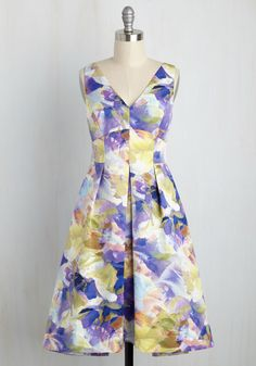 Swanky Scenario Dress - Multi, Purple, Floral, Print, Special Occasion, Daytime Party, A-line, Sleeveless, Woven, Exceptional, V Neck, Wedding Guest, Mid-length