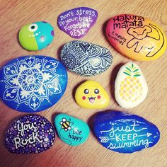 Painted rock / rock painting / rock art / painted stones / quotes / be happy / lion king / monsters inc / pikachu / doodles