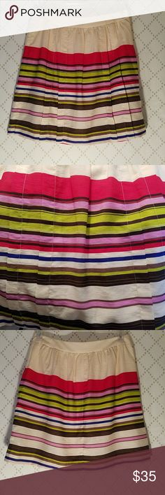 """LOFT Bright Striped Pleated A Line Skirt Bright striped pleated skirt in an A Line shape with hidden side zip and hook closure; Rayon/Lyocell fabric fully lined in solid ivory poly; Flat banded waist; 16"""" waist measured flat 20"""" waist to hem; Excellent condition! LOFT Skirts A-Line or Full"""