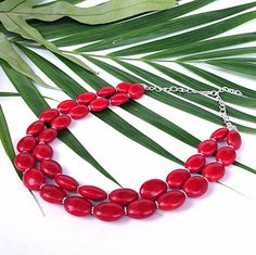 Chunky red necklace  oval multi strand by BijouxDesignsStudio, $44.00