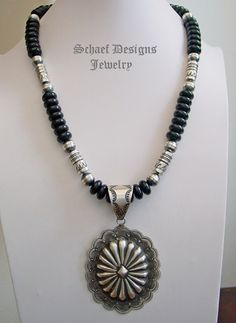 Black Onyx & Sterling Silver Southwestern long necklace with Vincent Platero Concho pendant