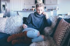 """""""Lounging around in my new favorite sweater and boots! @AmericanEagle #AEOStyle #AEOPartner"""""""