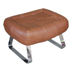 Percival Lafer Vintage Leather & Chrome Ottoman - $500 Est. Retail - $250 on Chairish.com