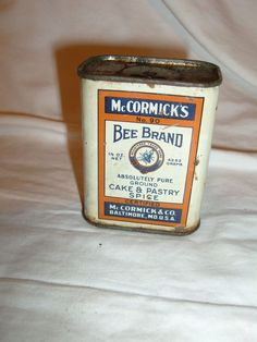Old McCORMICK Bee Brand Spice Tin CAKE & PASTRY SPICE TIN   Country Store #McCormicksBeeBrand