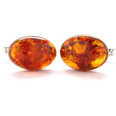 Amber Cufflinks Cuff Links Baltic Suit Fashion Jewelry Jewellery Fossil Classy Fire Orange