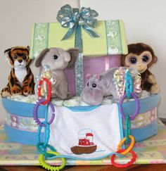 Noah's Ark Diaper Cake by BabyNappyCakes on Etsy, $160.00