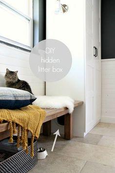 Cat Litter Box Ideas Hidden, Cat Litter Cabinet, Hiding Cat Litter Box, Dog Litter Box, Best Litter Box, Cat Litter Box Enclosure, House Tweaking, Box Houses, Cat Room