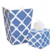 Blue Garden Wastebasket and Tissue Box Set