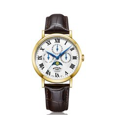 Rotary Watches, Roman Numerals, Stainless Steel Case, Fathers Day Gifts, Black Leather, Quartz, Windsor, Silver, Gold