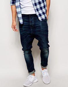 Image 1 ofASOS Drop Crotch Jeans In Vintage Wash