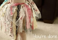 Fabric strips tutu TUTORIAL , add more tulle in there and you have a great tutu