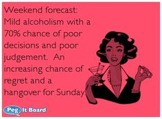 Quote on drunk ecard: Weekend forecast:  Mild alcoholism with a  70% chance of poor  decisions and poor  judgement.  An  increasing chance of  regret and a  hangover for Sunday.