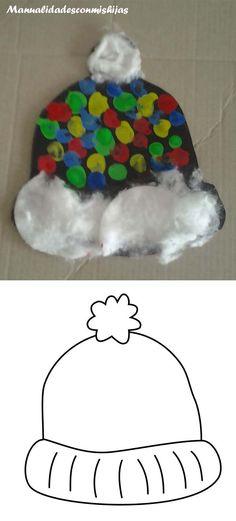 Manualidadescomishijas: Gorro de invierno hecho con huellas de dedos, temperas y algodon. Molde Template winter hat