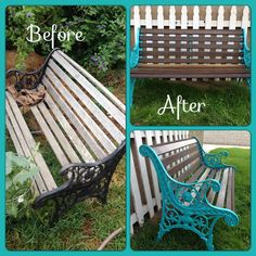 Bench project! Rustoleum, new hardware, lacquer. Turned an old park bench into a new seaside and dark wood bench!