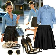 Cute, skirt maybe inch longer so i don't look like mutton dressed as lamb