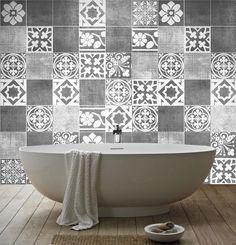 Adhesivos para azulejos en gris #gris #grey #deco #vinilo #home #bathroom #handmade #hechoamano #diseño #design #DaWanda