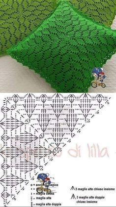 Crochet Cushion Cover, Crochet Pillow Pattern, Crochet Cushions, Granny Square Crochet Pattern, Crochet Diagram, Crochet Chart, Crochet Squares, Crochet Motif, Crochet Designs
