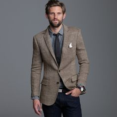 J.crew Linen Herringbone Sportcoat in Ludlow Fit in Brown for Men (brown herringbone)