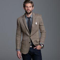 J.crew Linen Herringbone Sportcoat in Ludlow Fit in Brown for Men (brown herringbone)