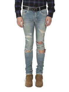 Saint Laurent - Distressed Straight-Fit Jeans - PREACHER STYLES