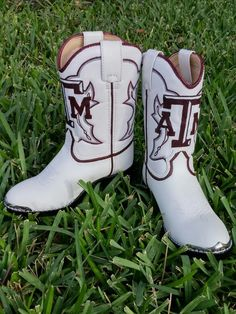 kids cowboy boots / custom painted shoes / texas a&m aggies / shanny's shoes