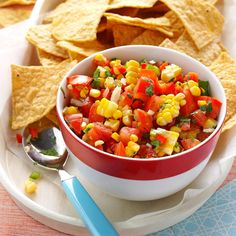 Colorful Corn Salsa Recipe -This colorful salsa is worth the extra time it takes to grill the ears of corn. The flavor goes well with barbecued meats, but it's also tasty served with chips. —Nancy Horsburgh, Everett, Ontario