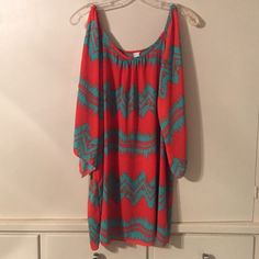 Bare shoulder blouse Tunic length, southwestern print R. Rouge Tops Blouses