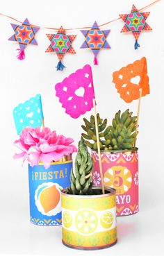 Printable tin can labels: Cinco de Mayo printable decorations! Fiesta Theme Party, Party Themes, Party Ideas, Spanish Party Decorations, First Birthday Parties, First Birthdays, 2nd Birthday, Spanish Themed Party, Mexico Party