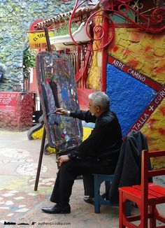 "Cuban artist Salvador at work in ""Callejón de Hamel"" / Visit http://authenticcuba.com/program/havana-international-jazz-festival-tour/ for more details"