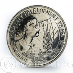 India 10 rupees Equality Development Peace women spica silver coin 1975
