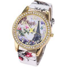 57b389bfb72 Women Watch 2017 Automatic Watch Vintage Paris Eiffel Tower Leather Quartz  Watch Women Casual Crystal Wristwatch