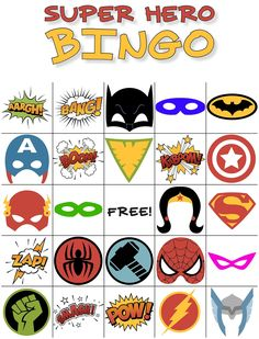 Free Printable Super Hero BINGO Party - - Got a superhero fan? This printable Superhero Bingo Game is perfect for birthday parties, library programs, or simply as a fun boredom buster at home. Superhero Party Games, Superhero Baby Shower, Superhero Classroom, Superhero Kids, Superhero Birthday Party, Birthday Parties, Batman Party, Boy Birthday, Birthday Cards