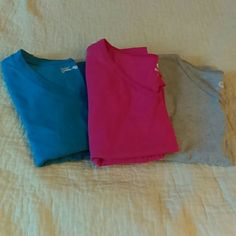 BUNDLE  OF 3 - JMS Shaped Fit - Tees 3 short-sleeved tees - aqua, pink, grey - Size 16W (1X) - 90% cotton, 10% poly Just My Size Tops Tees - Short Sleeve