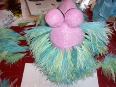Mokey Fraggle head (ostrich feathers for the hair)