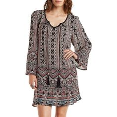 Charlotte Russe Multi Boho Print Shift Dress by Charlotte Russe at... (47 CAD) ❤ liked on Polyvore featuring dresses, multi, black peasant dress, short black dresses, sun dresses, shift dress and sundress dresses