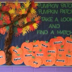 Fall bulletin board with first grade rhyming words