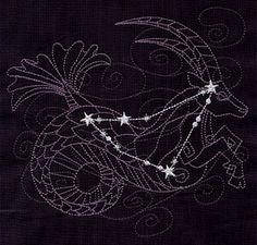 Ecliptic Constellations - Capricorn // via Urban Threads: Unique and Awesome Embroidery Designs                                                                                                                                                                                 Más