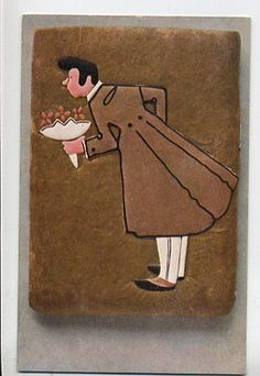 S1787 LEBKUCHEN GINGER BREAD MAN WITH FLOWERS POSTCARD