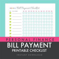 Bill Payment Checklist - Printable PDF - Custom Organizer Planner - INSTANT DOWNLOAD via Etsy