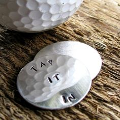 Men's Gift - Personalized Silver Golf Ball Marker Set Hand Stamped- Tap It In Or Other Custom Message  | 2 Sisters Handcrafted  www.2sistershandcrafted.com