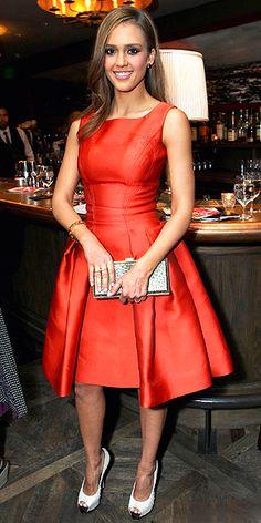 Jessica Alba wearing Carolina Herrera.