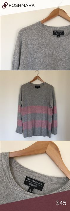 Banana Republic Wool Sweater Crewneck pink stripe wool sweater. Great condition with minima pilling. Merino Wool with Rayon and Nylon blend. Banana Republic Sweaters Crew & Scoop Necks