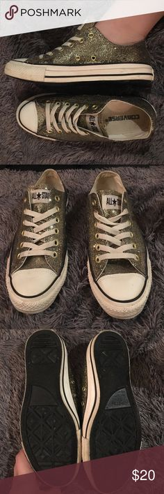 Converse All Star Gold Sequin Sneakers Worn a couple times for photo shoots. Cute gold sequin sneakers. Not my style so selling. Fit nice, I think they run true to size or fit like any other pair of converse. Scuffs all pictured will probably come out with shoe cleaner or my fav concoction (bleach & dish soap, scrub w toothbrush). Shoe laces already tied for perfect styling, no sequins missing. Converse Shoes Sneakers