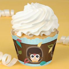 Owl - Look Whooo's Having A Baby -  Baby Shower Cupcake Wrappers $0.79
