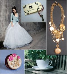 Alice in Wonderland wedding - I am not at all a fan of a theme wedding but love the look of this the dress and the necklace.