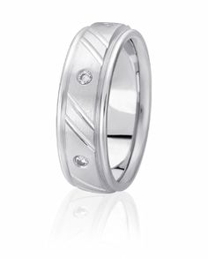 Raised Center Wedding Band With Flush Set With Round Brilliant Diamonds